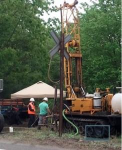 Drilling test boring for BFRT bridge, Great Road Acton