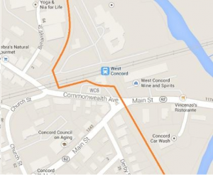 West Concord Rail Trail Crossing Map