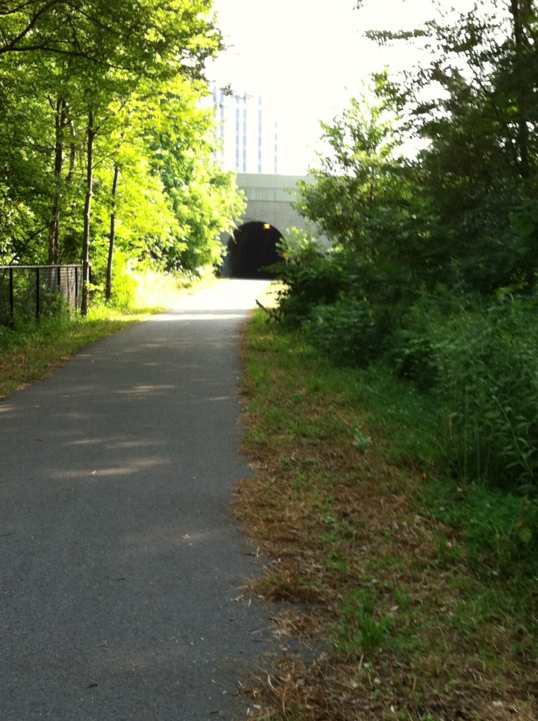 Approaching CrossPoint in Lowell on the Bruce Freeman Rail Trail