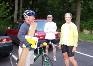 Alan at Summer Solstice Ride on the Assabet River Rail Trail with FBFRT board members Bob Hall and Barbara Pike