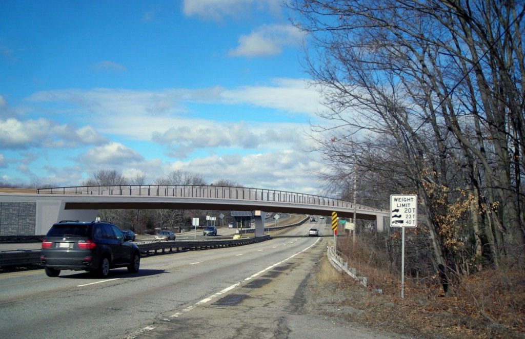 MassDOT rendering of proposed 300-foot bridge over Rte. 2